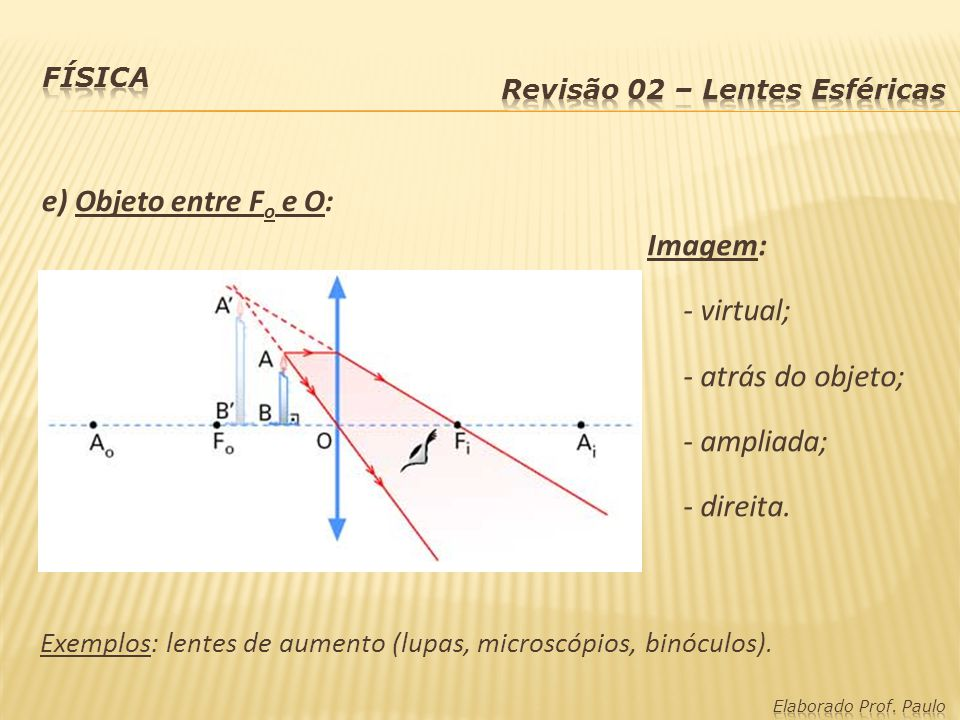 e) Objeto entre Fo e O: Imagem: - virtual; - atrás do objeto;