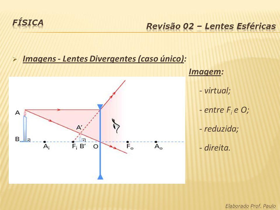 Imagens - Lentes Divergentes (caso único): Imagem: - virtual;