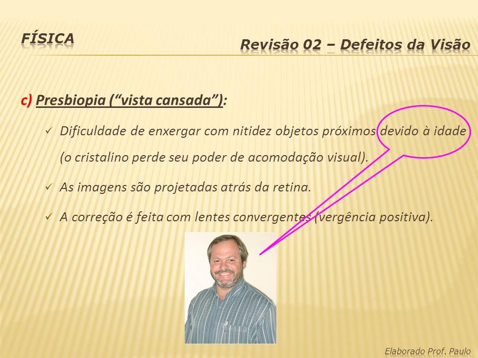 c) Presbiopia ( vista cansada ):
