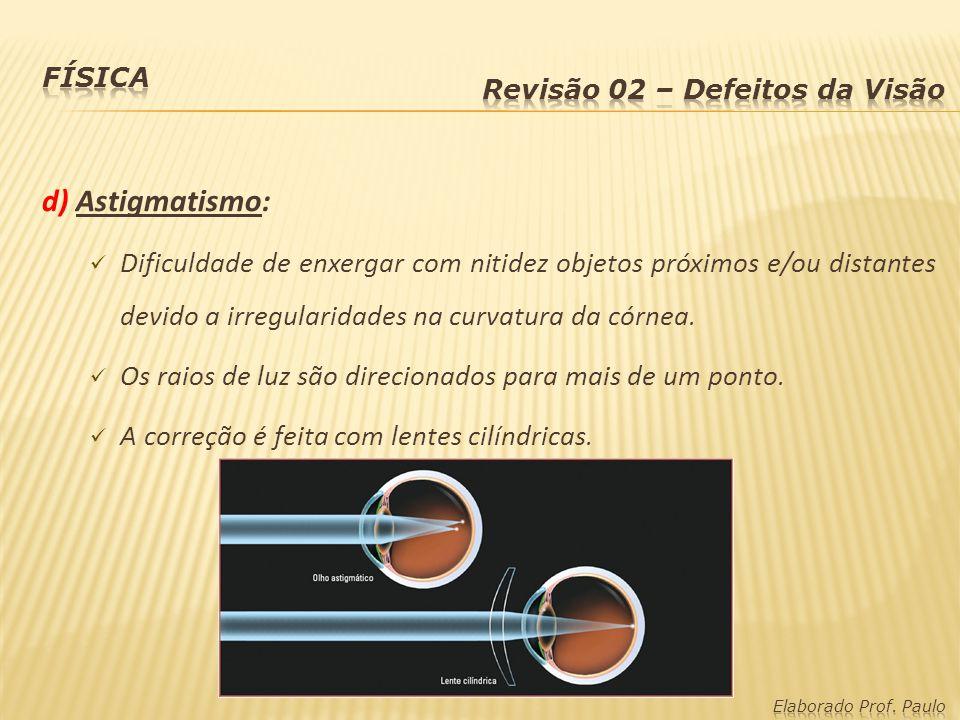 Física Revisão 02 – Defeitos da Visão. d) Astigmatismo:
