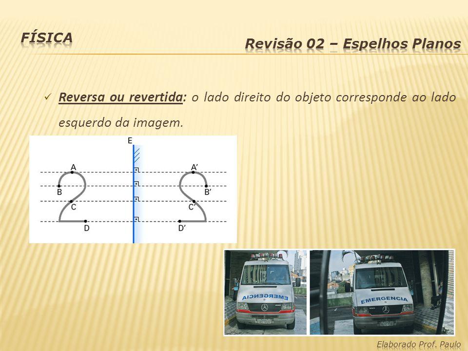 Física Revisão 02 – Espelhos Planos. Reversa ou revertida: o lado direito do objeto corresponde ao lado esquerdo da imagem.