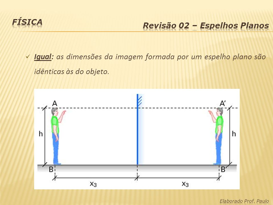Física Revisão 02 – Espelhos Planos. Igual: as dimensões da imagem formada por um espelho plano são idênticas às do objeto.