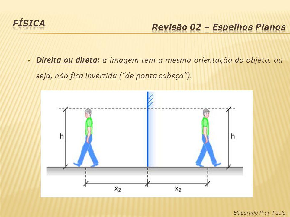 Física Revisão 02 – Espelhos Planos. Direita ou direta: a imagem tem a mesma orientação do objeto, ou seja, não fica invertida ( de ponta cabeça ).