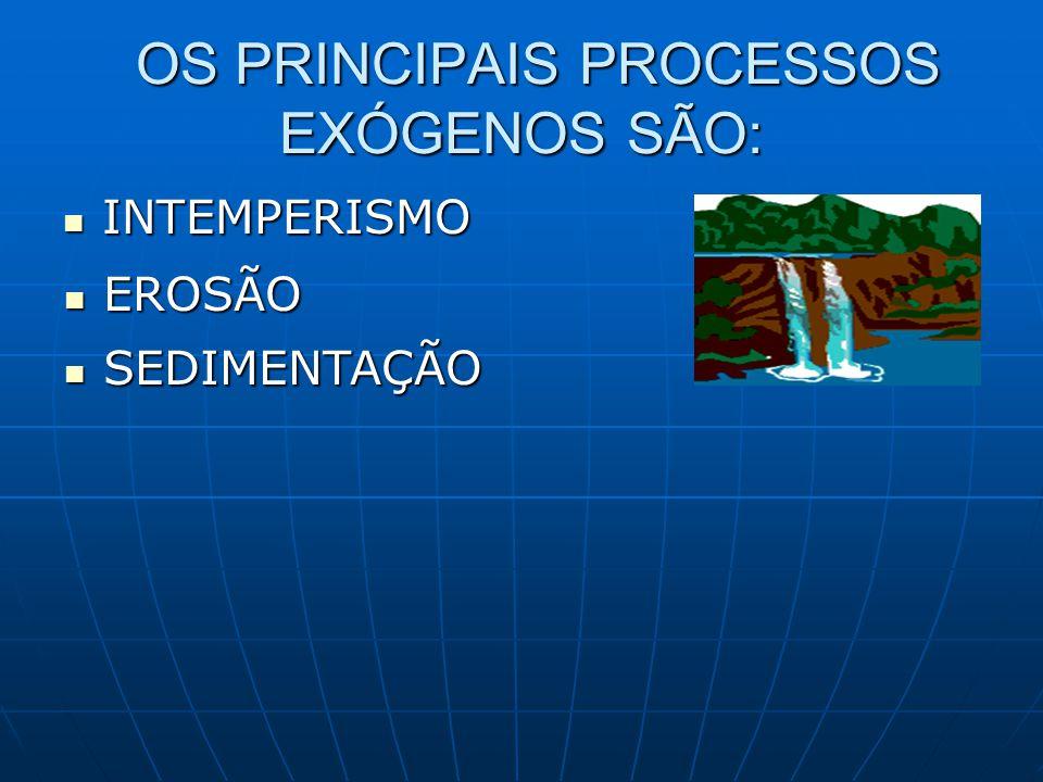 OS PRINCIPAIS PROCESSOS EXÓGENOS SÃO: