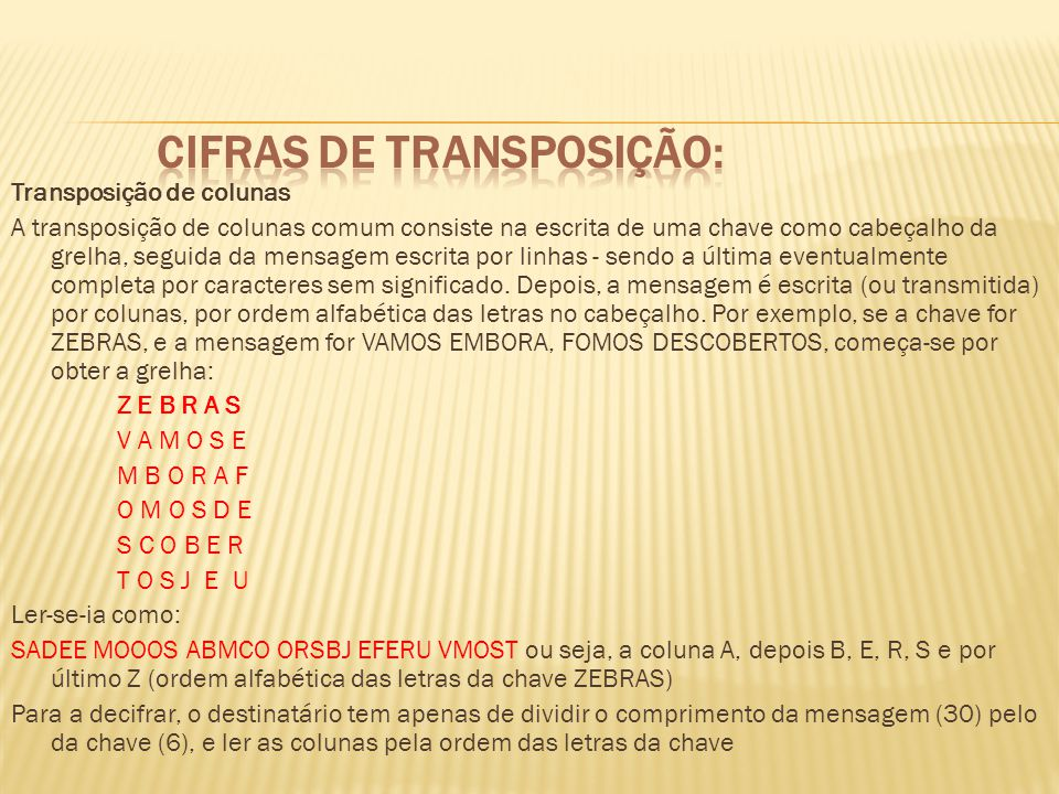 Cifras de transposição: