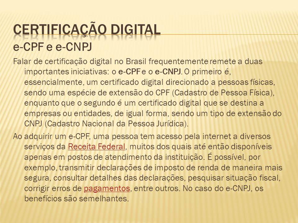 Certificação Digital e-CPF e e-CNPJ