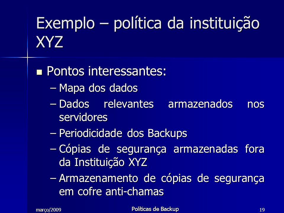 Exemplo – política da instituição XYZ