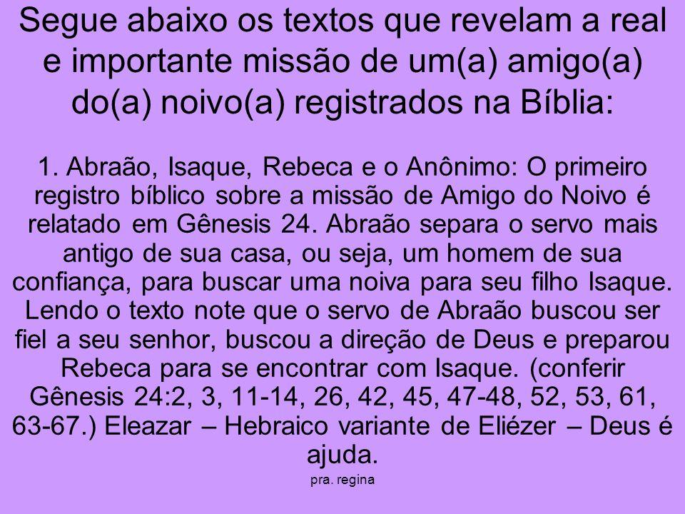 Segue abaixo os textos que revelam a real e importante missão de um(a) amigo(a) do(a) noivo(a) registrados na Bíblia: