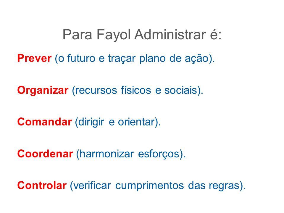 Para Fayol Administrar é:
