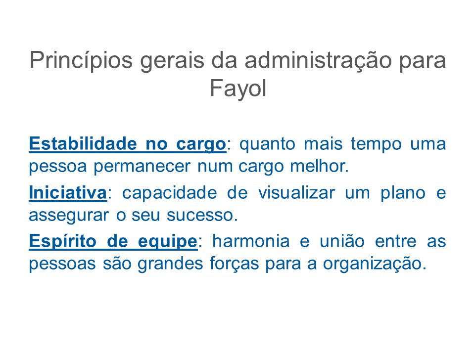 Princípios gerais da administração para Fayol