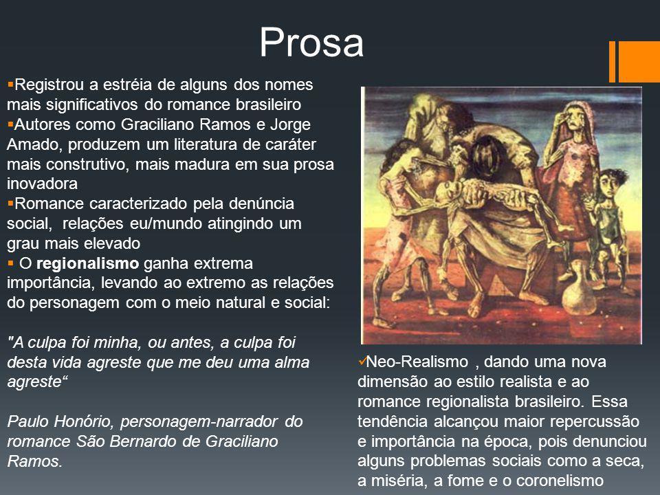 Prosa Registrou a estréia de alguns dos nomes mais significativos do romance brasileiro.
