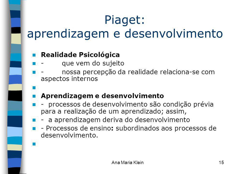 Piaget: aprendizagem e desenvolvimento