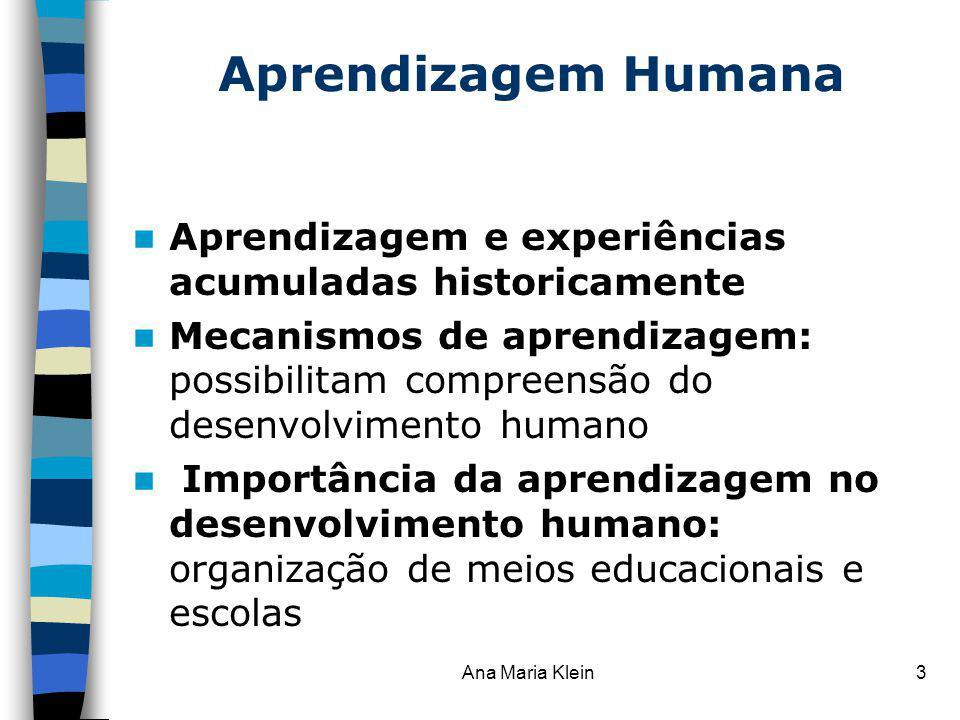 Aprendizagem Humana Aprendizagem e experiências acumuladas historicamente.