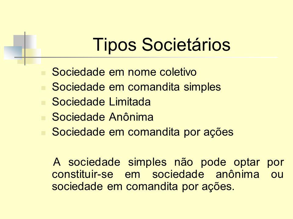 Tipos Societários Sociedade em nome coletivo