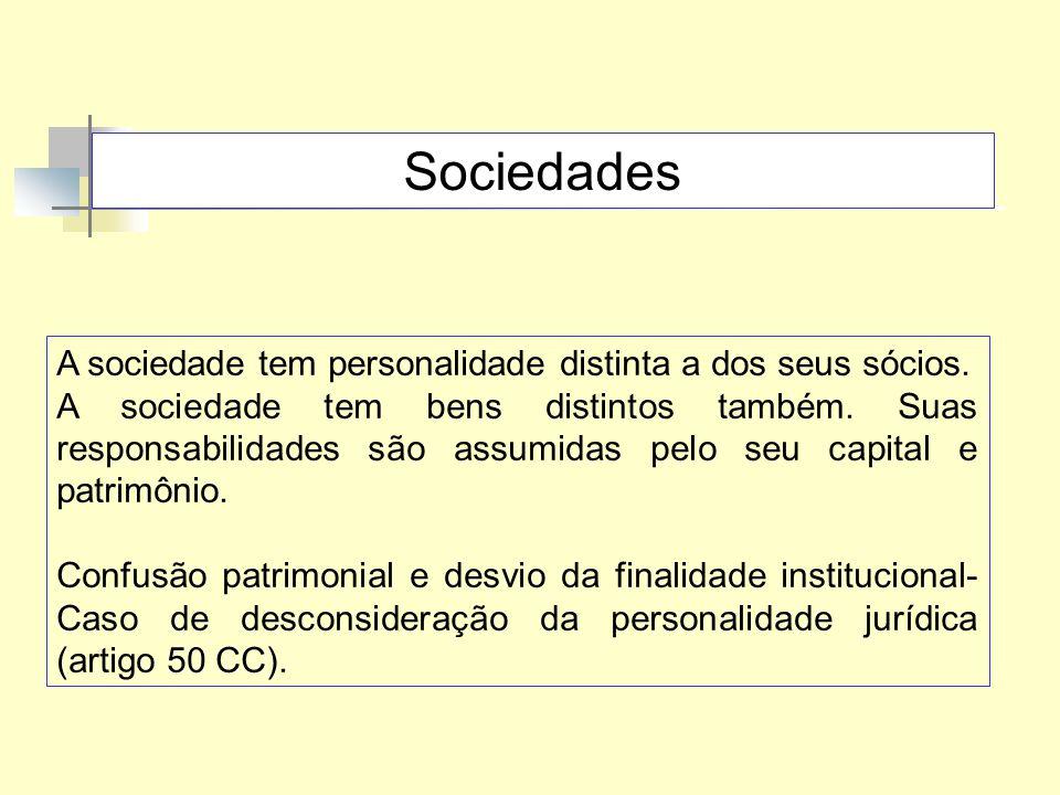 Sociedades A sociedade tem personalidade distinta a dos seus sócios.