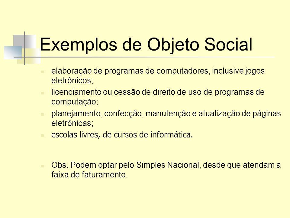 Exemplos de Objeto Social