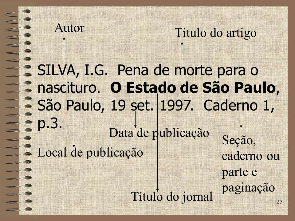 Autor Título do artigo. SILVA, I.G. Pena de morte para o nascituro. O Estado de São Paulo, São Paulo, 19 set. 1997. Caderno 1, p.3.