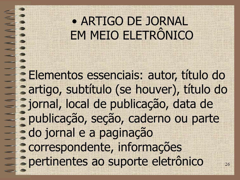 ARTIGO DE JORNAL EM MEIO ELETRÔNICO.