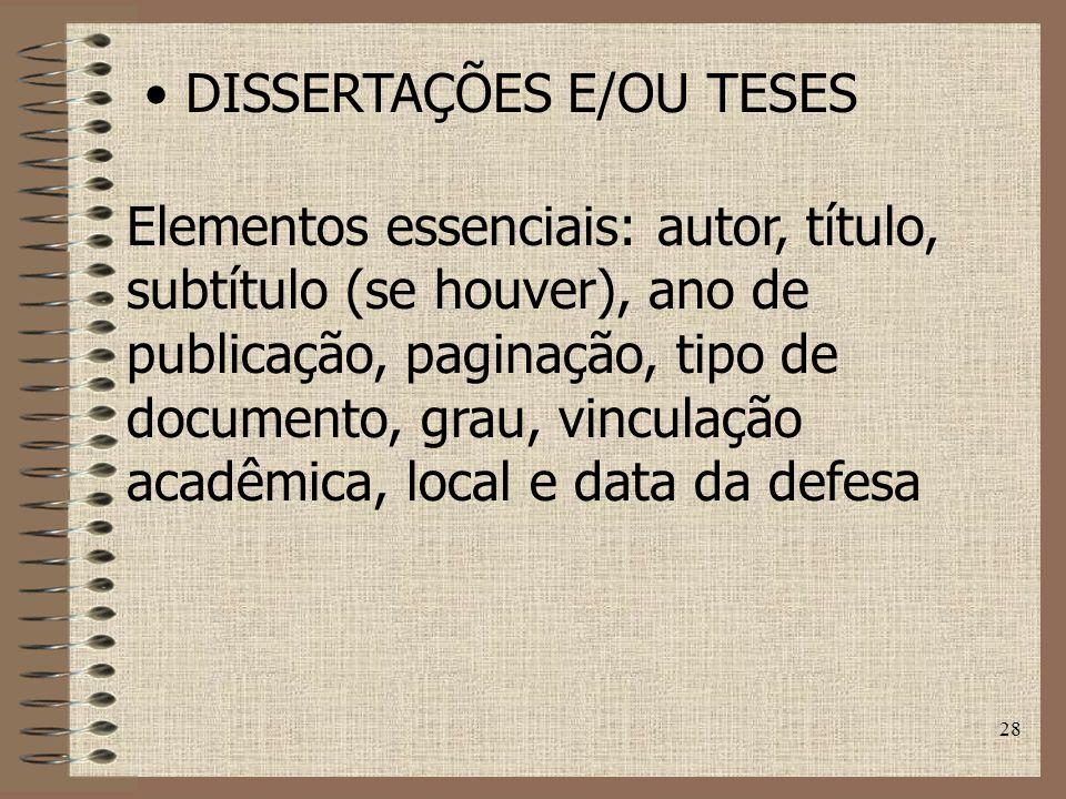 DISSERTAÇÕES E/OU TESES
