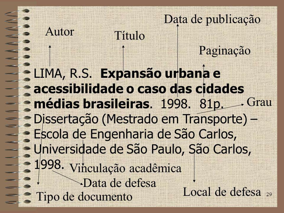 Data de publicação Autor. Título. Paginação.