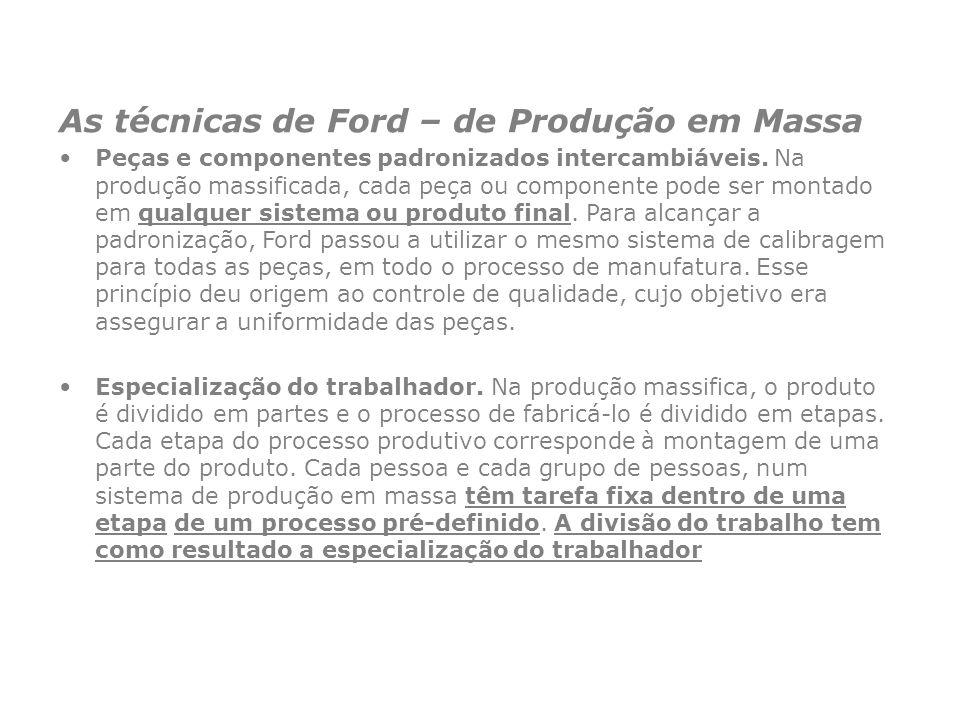As técnicas de Ford – de Produção em Massa