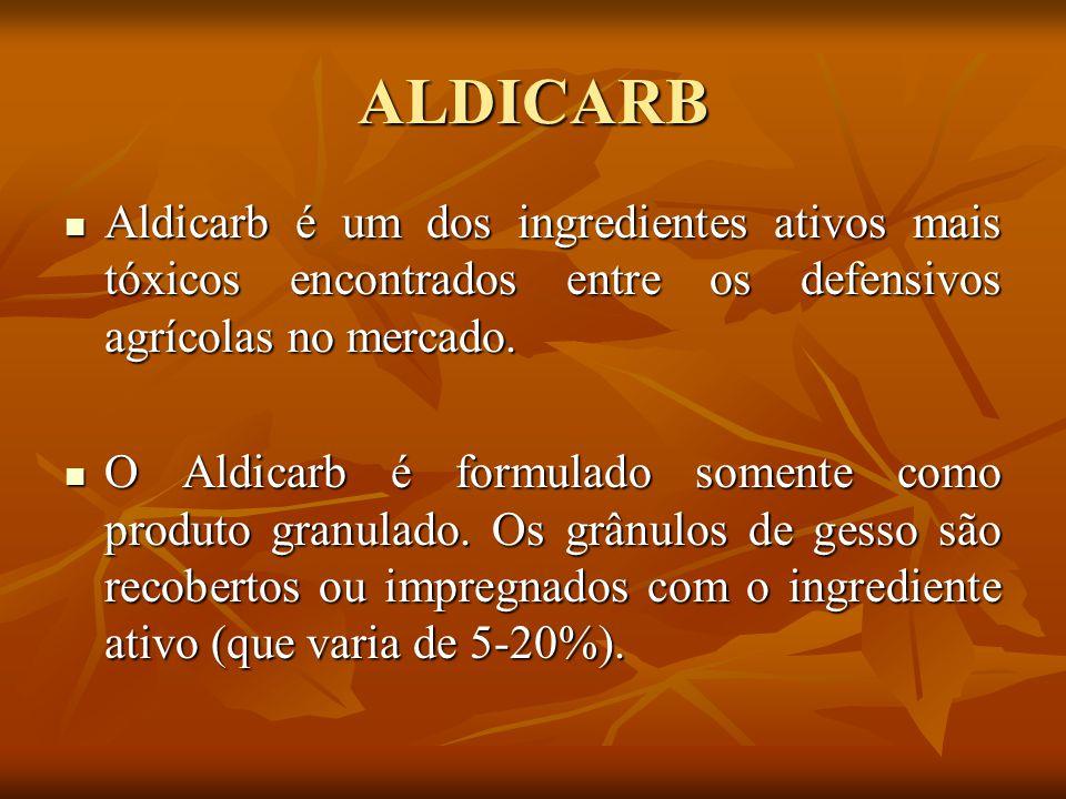ALDICARB Aldicarb é um dos ingredientes ativos mais tóxicos encontrados entre os defensivos agrícolas no mercado.