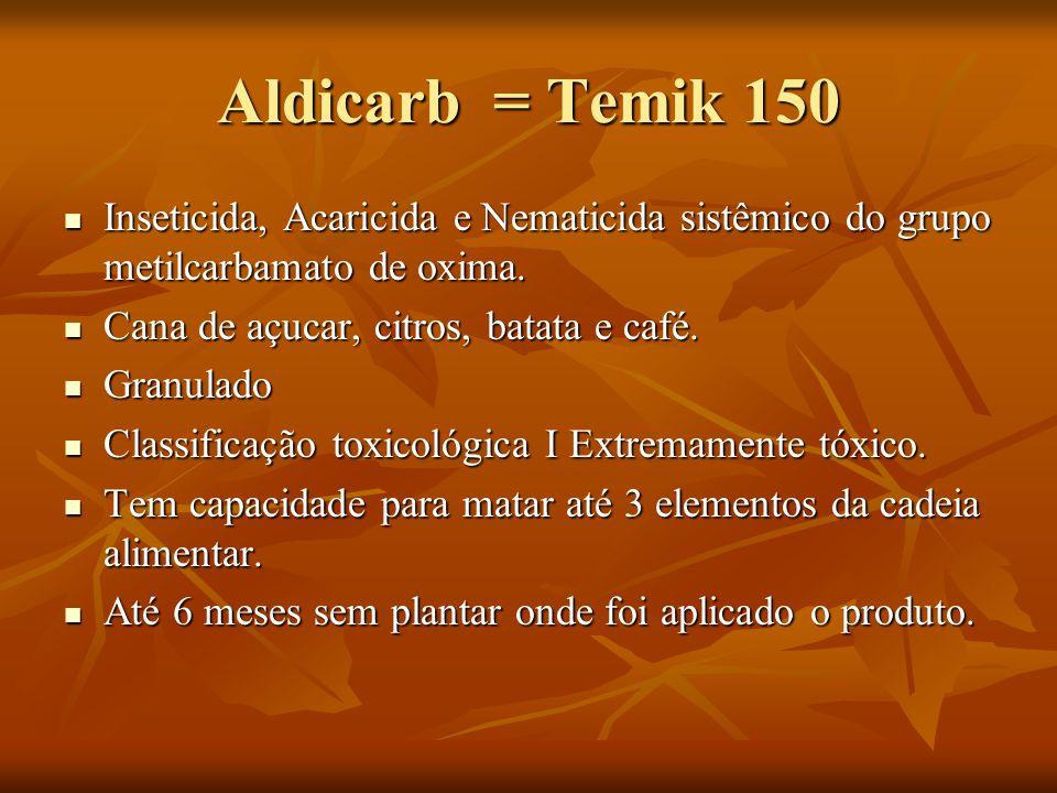 Aldicarb = Temik 150 Inseticida, Acaricida e Nematicida sistêmico do grupo metilcarbamato de oxima.