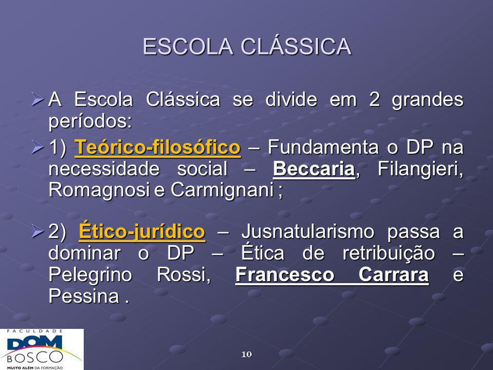 ESCOLA CLÁSSICA A Escola Clássica se divide em 2 grandes períodos: