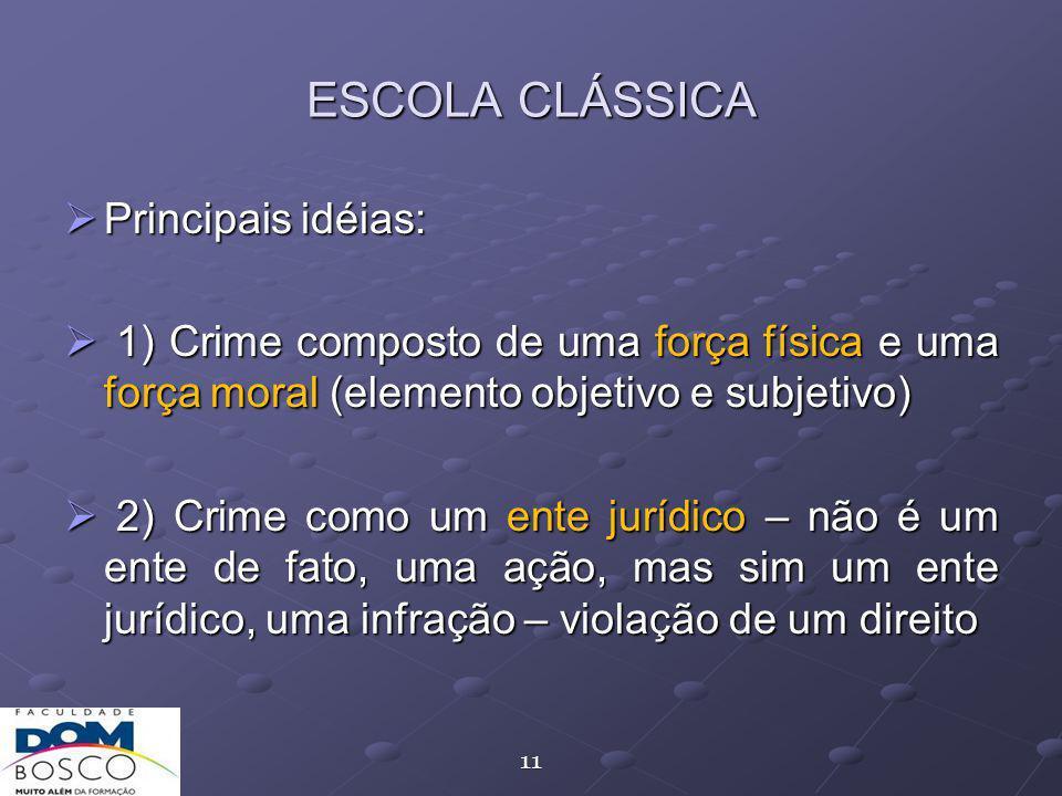 ESCOLA CLÁSSICA Principais idéias: