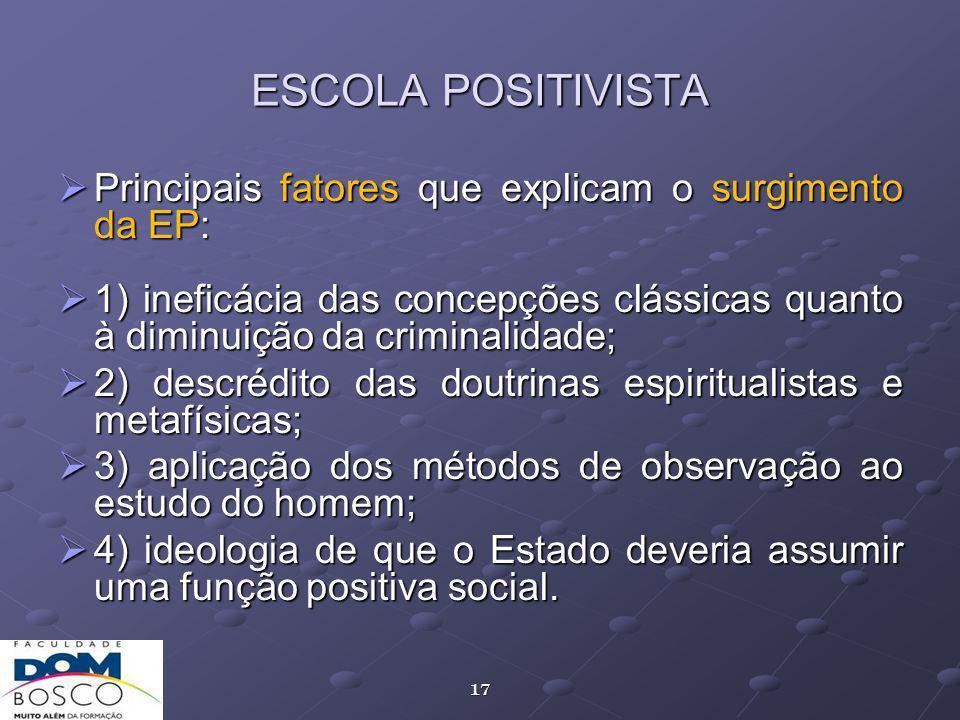 ESCOLA POSITIVISTA Principais fatores que explicam o surgimento da EP: