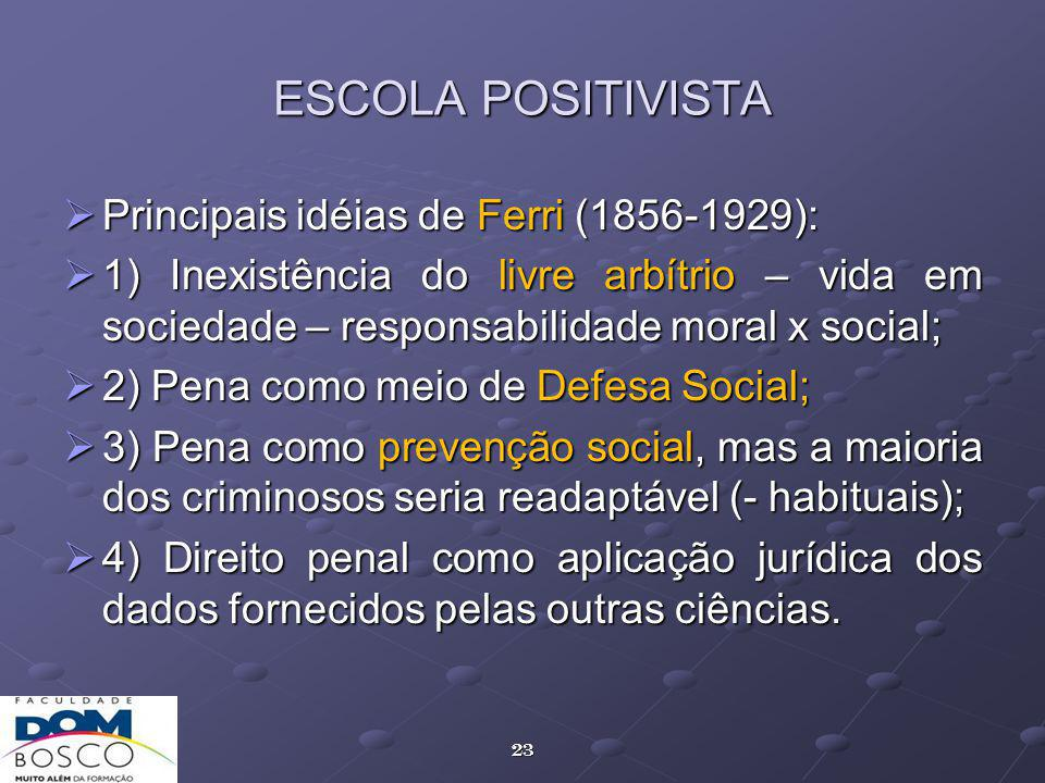 ESCOLA POSITIVISTA Principais idéias de Ferri (1856-1929):