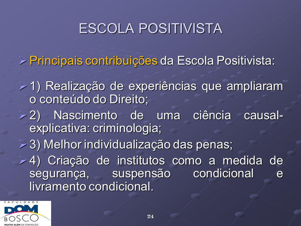 ESCOLA POSITIVISTA Principais contribuições da Escola Positivista: