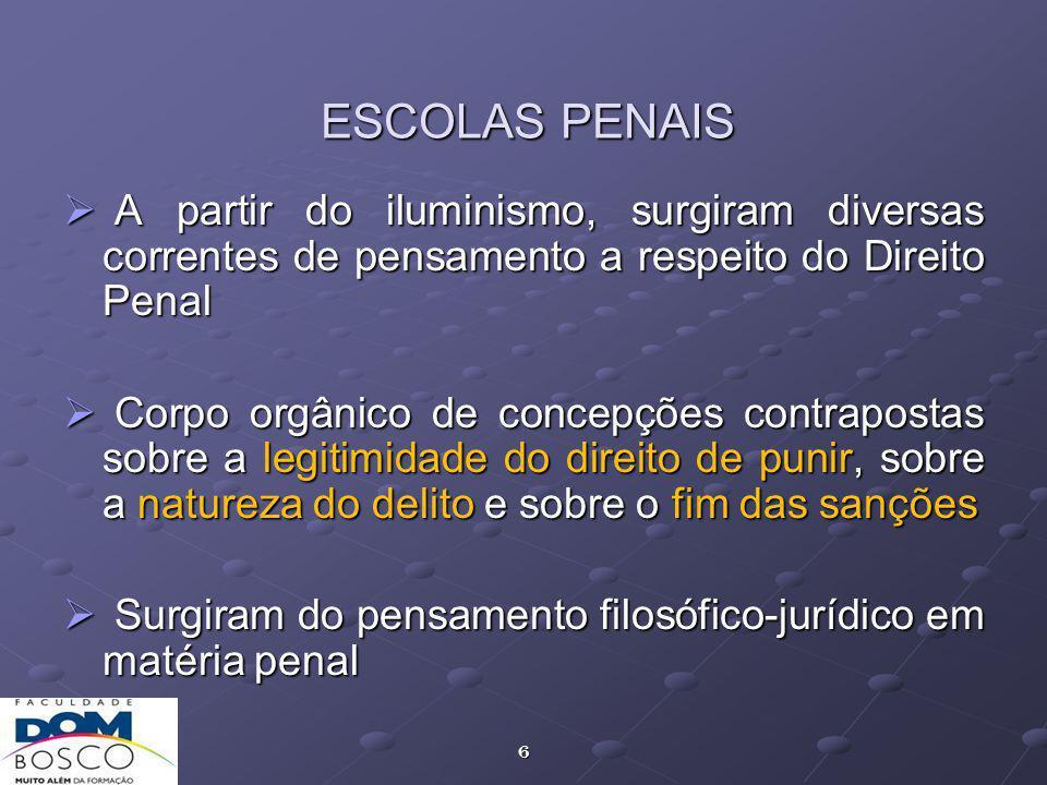 ESCOLAS PENAIS A partir do iluminismo, surgiram diversas correntes de pensamento a respeito do Direito Penal.