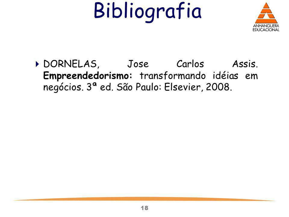 Bibliografia DORNELAS, Jose Carlos Assis. Empreendedorismo: transformando idéias em negócios.