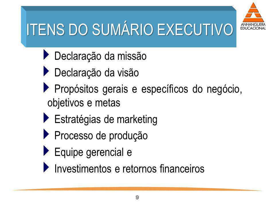 ITENS DO SUMÁRIO EXECUTIVO