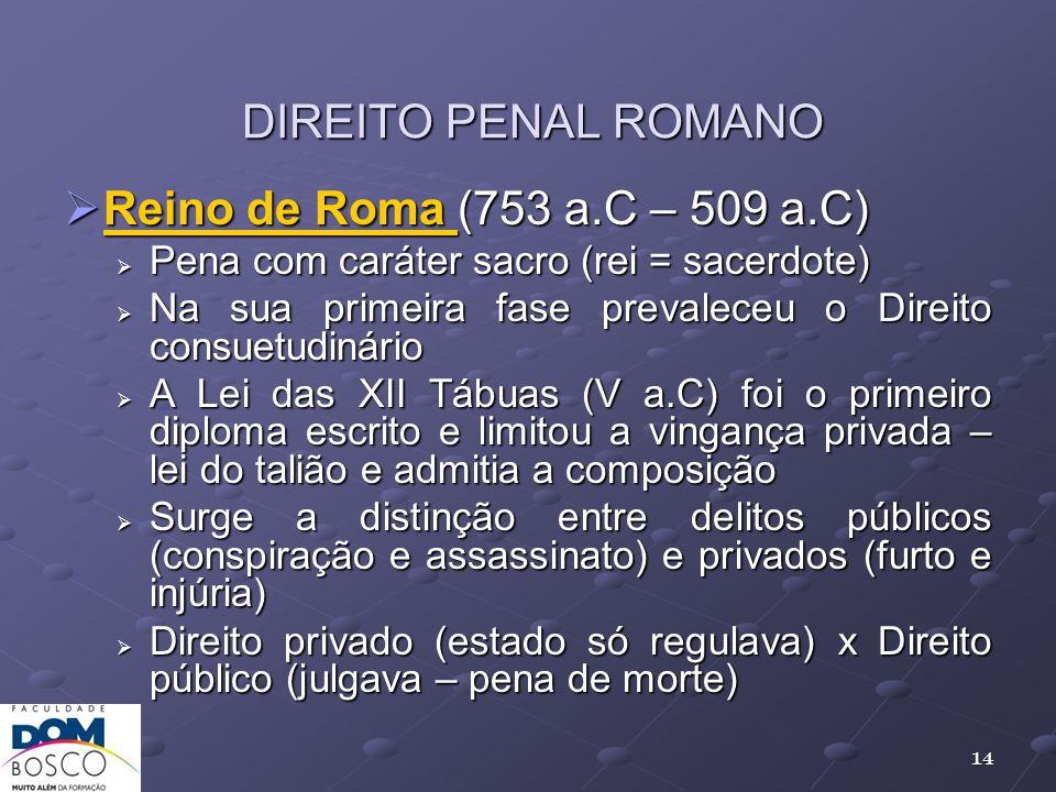 DIREITO PENAL ROMANO Reino de Roma (753 a.C – 509 a.C)