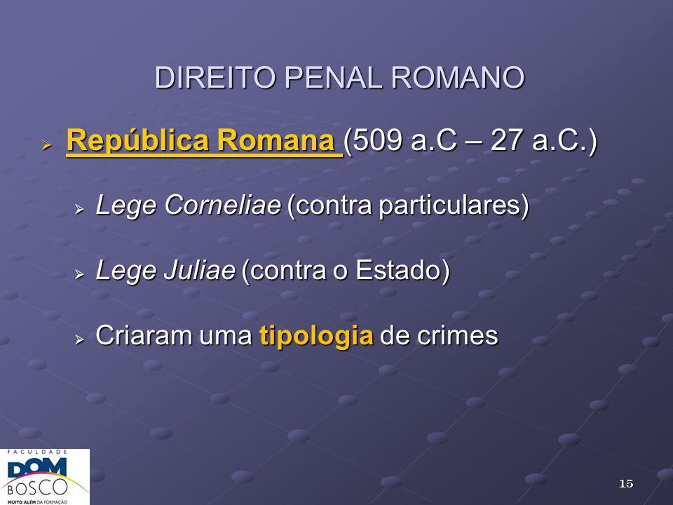 República Romana (509 a.C – 27 a.C.)