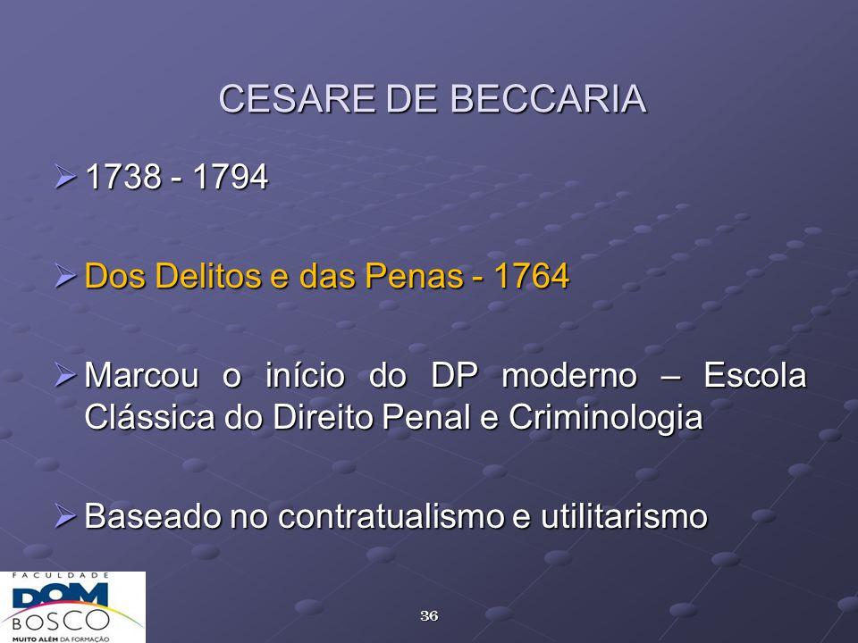 CESARE DE BECCARIA 1738 - 1794 Dos Delitos e das Penas - 1764
