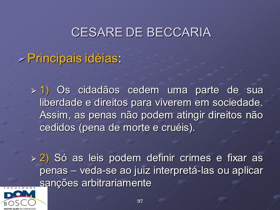 CESARE DE BECCARIA Principais idéias: