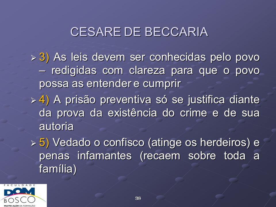 CESARE DE BECCARIA 3) As leis devem ser conhecidas pelo povo – redigidas com clareza para que o povo possa as entender e cumprir.