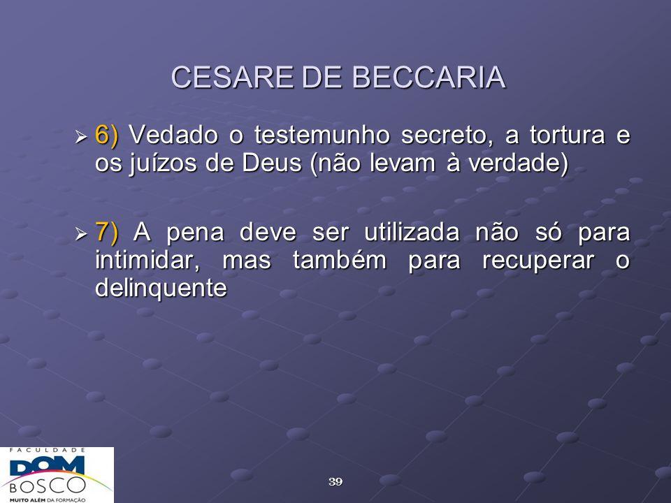 CESARE DE BECCARIA 6) Vedado o testemunho secreto, a tortura e os juízos de Deus (não levam à verdade)
