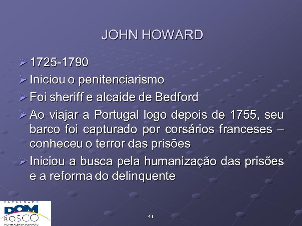 JOHN HOWARD 1725-1790 Iniciou o penitenciarismo