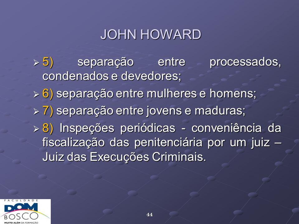 JOHN HOWARD 5) separação entre processados, condenados e devedores;