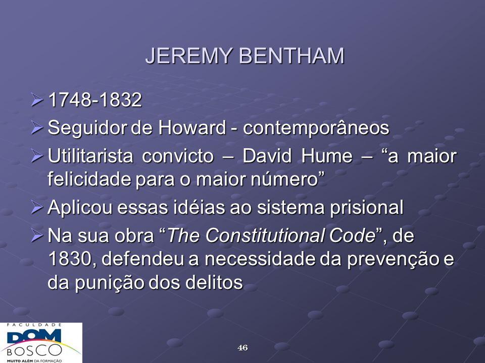 JEREMY BENTHAM 1748-1832 Seguidor de Howard - contemporâneos