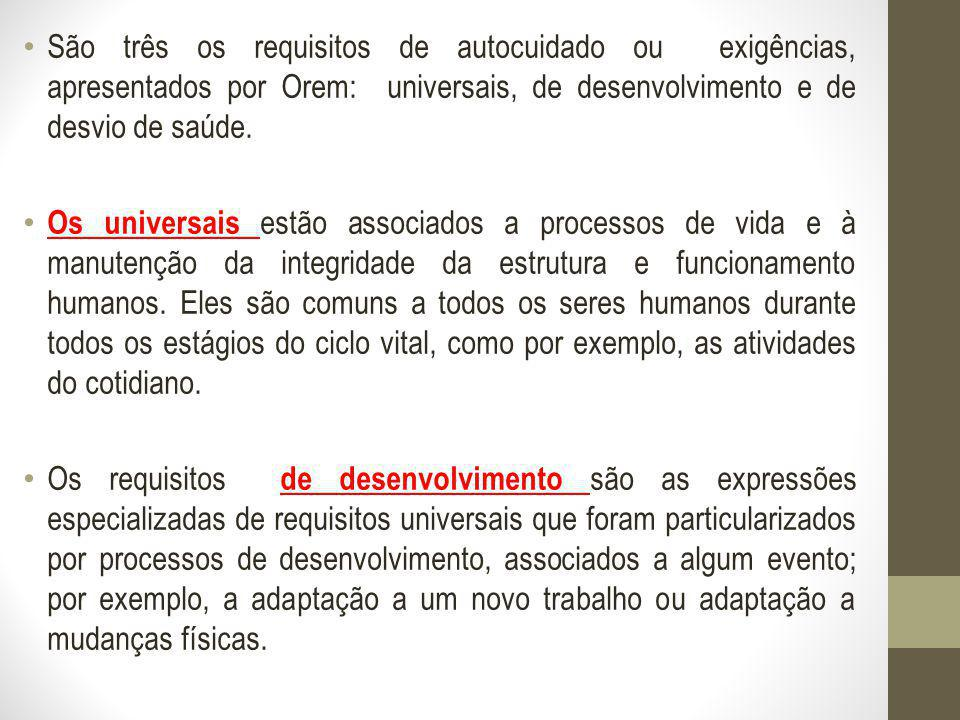 São três os requisitos de autocuidado ou exigências, apresentados por Orem: universais, de desenvolvimento e de desvio de saúde.