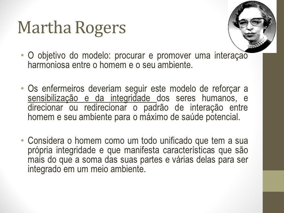 Martha Rogers O objetivo do modelo: procurar e promover uma interação harmoniosa entre o homem e o seu ambiente.