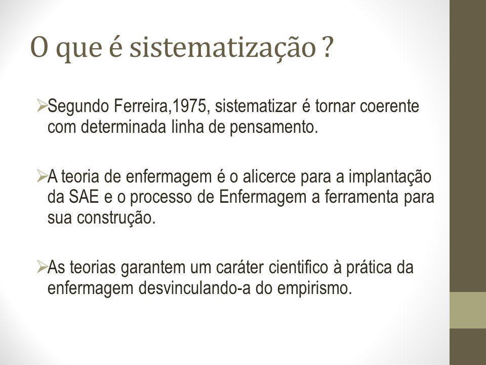 O que é sistematização Segundo Ferreira,1975, sistematizar é tornar coerente com determinada linha de pensamento.