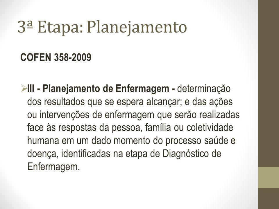 3ª Etapa: Planejamento COFEN 358-2009