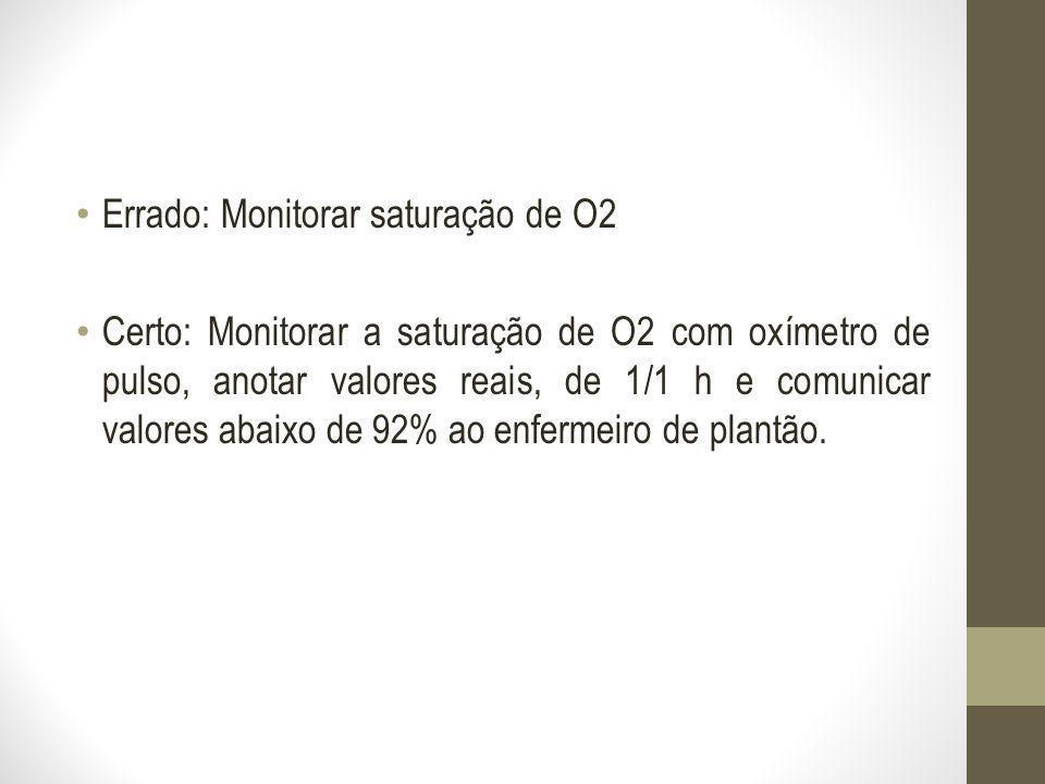Errado: Monitorar saturação de O2