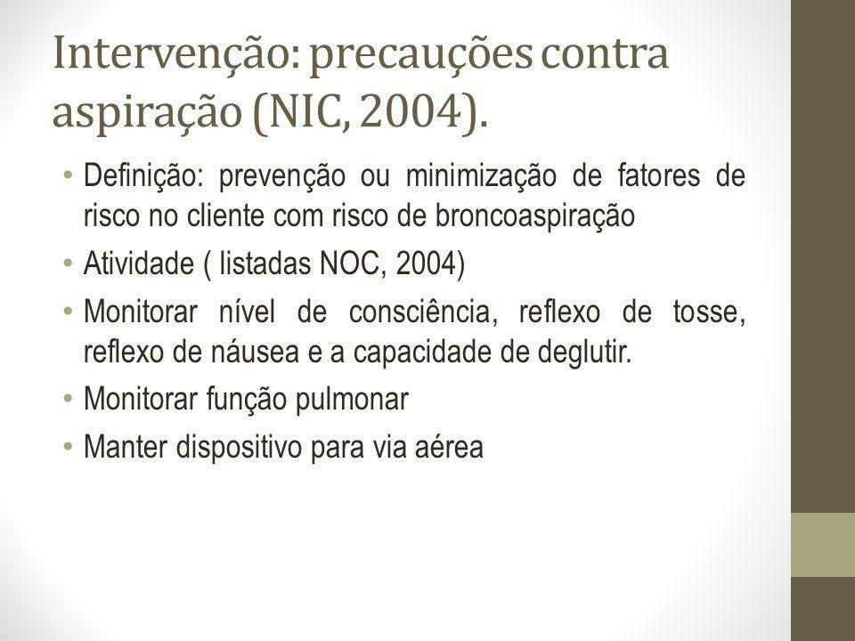 Intervenção: precauções contra aspiração (NIC, 2004).